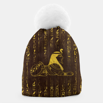 Thumbnail image of Golden Egyptian Sphinx and hieroglyphics on wood Beanie, Live Heroes