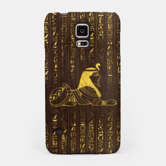 Thumbnail image of Golden Egyptian Sphinx and hieroglyphics on wood Samsung Case, Live Heroes