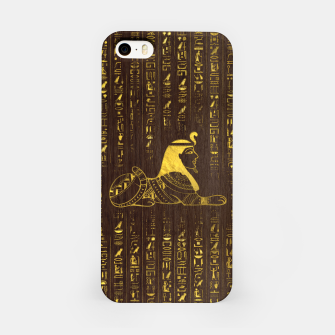 Thumbnail image of Golden Egyptian Sphinx and hieroglyphics on wood iPhone Case, Live Heroes