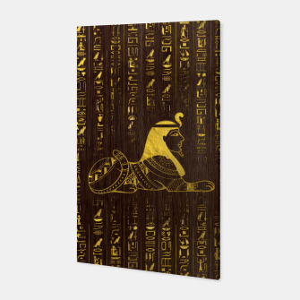 Thumbnail image of Golden Egyptian Sphinx and hieroglyphics on wood Canvas, Live Heroes