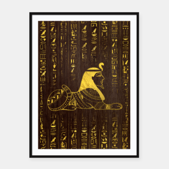Thumbnail image of Golden Egyptian Sphinx and hieroglyphics on wood Framed poster, Live Heroes