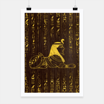 Thumbnail image of Golden Egyptian Sphinx and hieroglyphics on wood Poster, Live Heroes