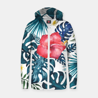 Miniatur Tropics. Exotic Tropical flowers, Watercolor  illustration Cotton zip up hoodie, Live Heroes