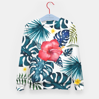Miniatur Tropics. Exotic Tropical flowers, Watercolor  illustration Kid's sweater, Live Heroes