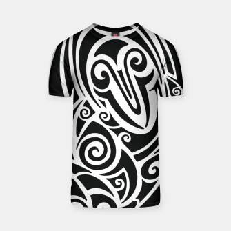 Thumbnail image of Surf board. Illustration in the Polynesian style tattoo T-shirt, Live Heroes