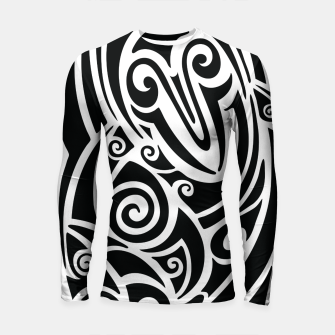 Thumbnail image of Surf board. Illustration in the Polynesian style tattoo Longsleeve rashguard , Live Heroes