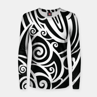 Thumbnail image of Surf board. Illustration in the Polynesian style tattoo Woman cotton sweater, Live Heroes