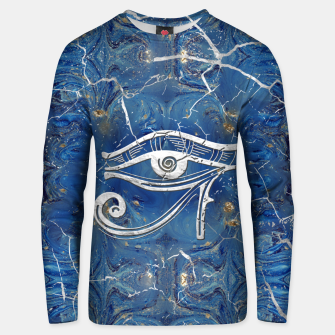 Thumbnail image of Silver Egyptian Eye of Horus  on blue marble Cotton sweater, Live Heroes