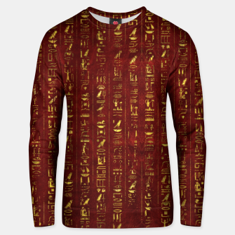 Thumbnail image of Golden Egyptian  hieroglyphics on red leather Cotton sweater, Live Heroes