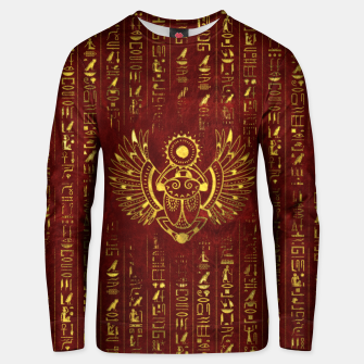 Thumbnail image of Golden Egyptian Scarab Ornament  on red leather Cotton sweater, Live Heroes