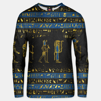 Thumbnail image of Golden Egyptian Gods and hieroglyphics on leather Cotton sweater, Live Heroes
