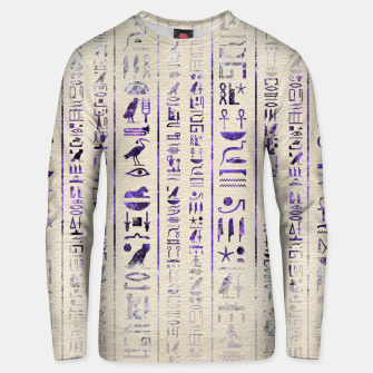 Thumbnail image of Amethyst Egyptian hieroglyphics on canvas Cotton sweater, Live Heroes