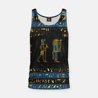 Miniatur Golden Egyptian Gods and hieroglyphics on leather Tank Top, Live Heroes
