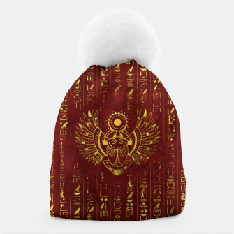 Thumbnail image of Golden Egyptian Scarab Ornament  on red leather Beanie, Live Heroes
