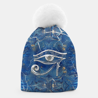 Thumbnail image of Silver Egyptian Eye of Horus  on blue marble Beanie, Live Heroes