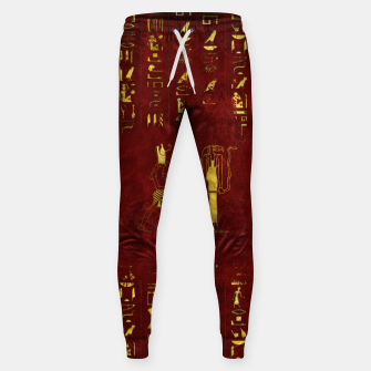 Miniatur Golden Egyptian Gods and hieroglyphics on red leather Cotton sweatpants, Live Heroes