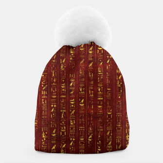 Thumbnail image of Golden Egyptian  hieroglyphics on red leather Beanie, Live Heroes