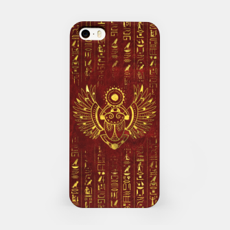 Thumbnail image of Golden Egyptian Scarab Ornament  on red leather iPhone Case, Live Heroes