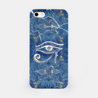 Thumbnail image of Silver Egyptian Eye of Horus  on blue marble iPhone Case, Live Heroes