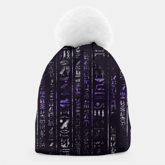 Thumbnail image of Grunge Amethyst and Silver Egyptian hieroglyphics Beanie, Live Heroes