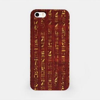 Thumbnail image of Golden Egyptian  hieroglyphics on red leather iPhone Case, Live Heroes