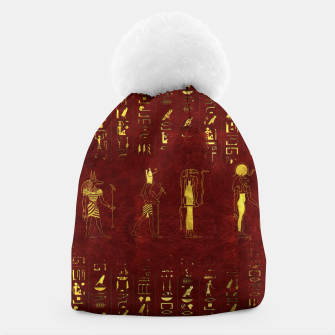 Miniatur Golden Egyptian Gods and hieroglyphics on red leather Beanie, Live Heroes