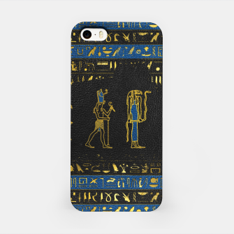 Thumbnail image of Golden Egyptian Gods and hieroglyphics on leather iPhone Case, Live Heroes