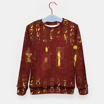 Miniatur Golden Egyptian Gods and hieroglyphics on red leather Kid's sweater, Live Heroes