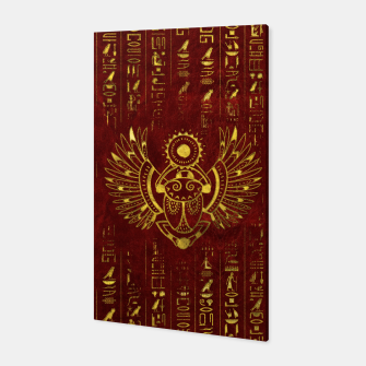 Miniatur Golden Egyptian Scarab Ornament  on red leather Canvas, Live Heroes