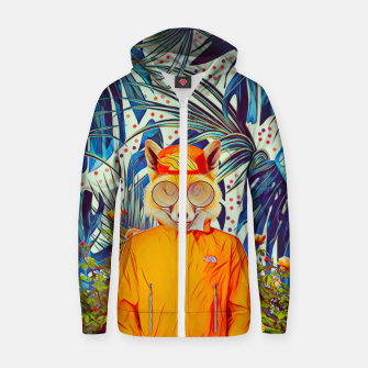 Thumbnail image of Floral foxy Cotton zip up hoodie, Live Heroes