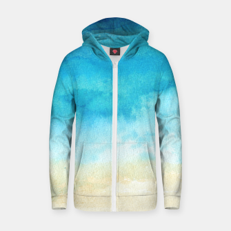 Thumbnail image of Ocean View. Watercolor Sea  landscape. Hand drawn illustration  Cotton zip up hoodie, Live Heroes