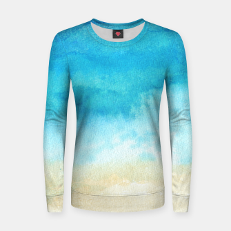Thumbnail image of Ocean View. Watercolor Sea  landscape. Hand drawn illustration  Woman cotton sweater, Live Heroes