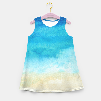 Thumbnail image of Ocean View. Watercolor Sea  landscape. Hand drawn illustration  Girl's summer dress, Live Heroes