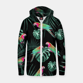 Parrots in the Tropical Jungle Night #1 #tropical #decor #art Baumwoll reißverschluss kapuzenpullover miniature