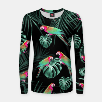 Parrots in the Tropical Jungle Night #1 #tropical #decor #art Frauen baumwoll sweatshirt miniature