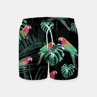 Miniaturka Parrots in the Tropical Jungle Night #1 #tropical #decor #art Badeshorts, Live Heroes