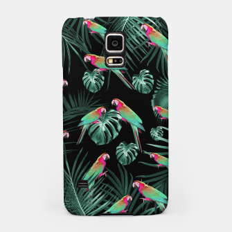 Parrots in the Tropical Jungle Night #1 #tropical #decor #art Handyhülle für Samsung miniature