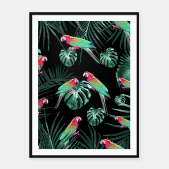 Miniature de image de Parrots in the Tropical Jungle Night #1 #tropical #decor #art Plakat mit rahmen, Live Heroes