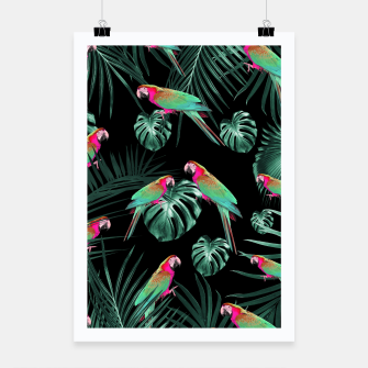 Thumbnail image of Parrots in the Tropical Jungle Night #1 #tropical #decor #art Plakat, Live Heroes