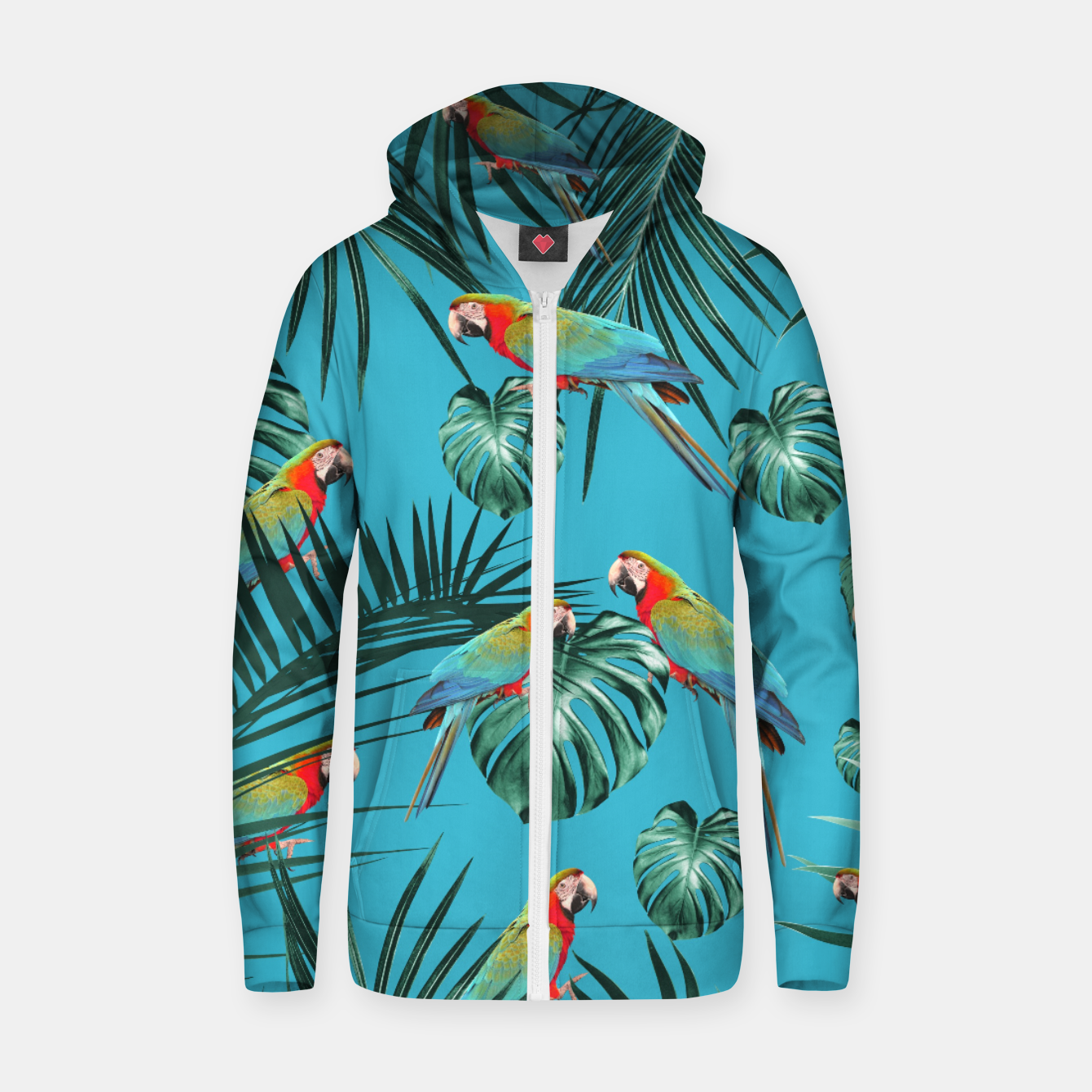 Image de Parrots in the Tropical Jungle #1 #tropical #decor #art Baumwoll reißverschluss kapuzenpullover - Live Heroes