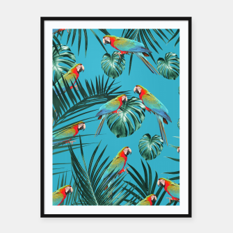 Miniatur Parrots in the Tropical Jungle #1 #tropical #decor #art Plakat mit rahmen, Live Heroes