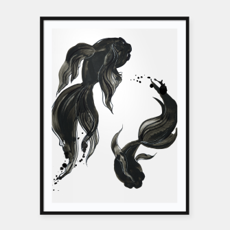 Thumbnail image of Koi fishes in Japanese painting style. Traditional art Framed poster, Live Heroes