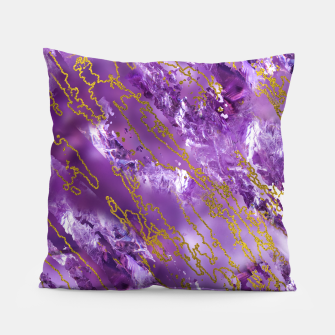 Thumbnail image of Amethyst Quartz and gold texture Pillow, Live Heroes