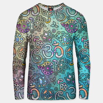 Thumbnail image of Pastel  Turquoise watercolor  OM symbol pattern Cotton sweater, Live Heroes