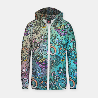 Thumbnail image of Pastel  Turquoise watercolor  OM symbol pattern Cotton zip up hoodie, Live Heroes