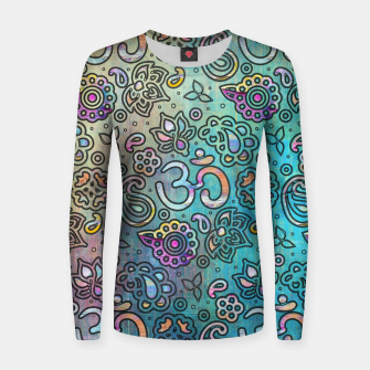 Thumbnail image of Pastel  Turquoise watercolor  OM symbol pattern Woman cotton sweater, Live Heroes