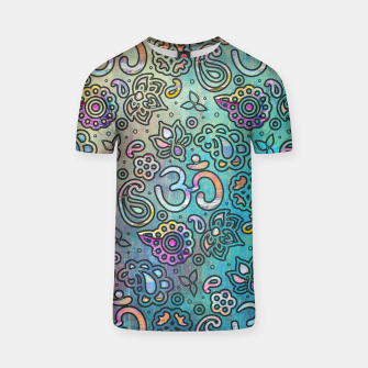 Thumbnail image of Pastel  Turquoise watercolor  OM symbol pattern T-shirt, Live Heroes