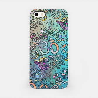 Thumbnail image of Pastel  Turquoise watercolor  OM symbol pattern iPhone Case, Live Heroes