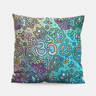 Thumbnail image of Pastel  Turquoise watercolor  OM symbol pattern Pillow, Live Heroes