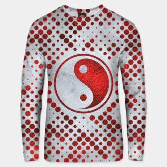 Thumbnail image of Beautiful Red Metallic Yin yang on mother of pearl  Cotton sweater, Live Heroes